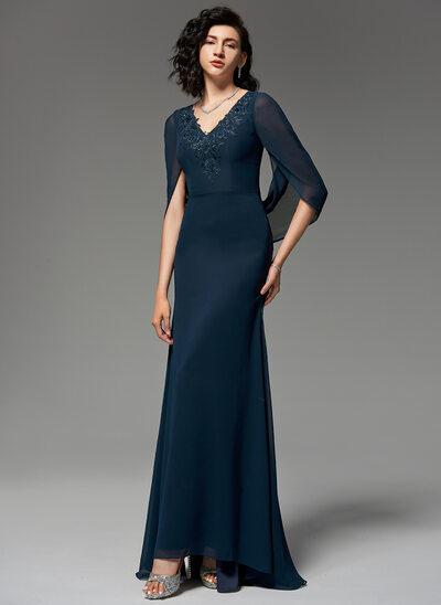 Trumpet/Mermaid V-neck Sweep Train Chiffon Evening Dress