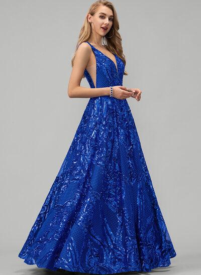 A-Line V-neck Floor-Length Sequined Prom Dresses