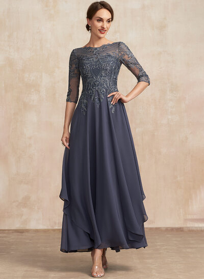 A-Line Scoop Neck Ankle-Length Chiffon Lace Mother of the Bride Dress With Cascading Ruffles
