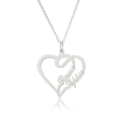 Custom Heart Two Name Necklace Heart Necklace - Birthday Gifts Mother's Day Gifts