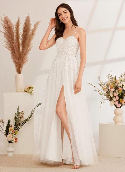 [Gratis Frakt]A-Formet kjæreste Gulvlengde Brudekjole med Profilering paljetter Splittet Front