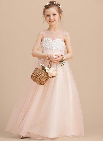 A-Line Floor-length Flower Girl Dress - Tulle/Lace Sleeveless Scoop Neck