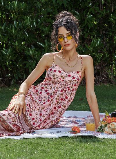 A-Line V-neck Asymmetrical Prom Dresses