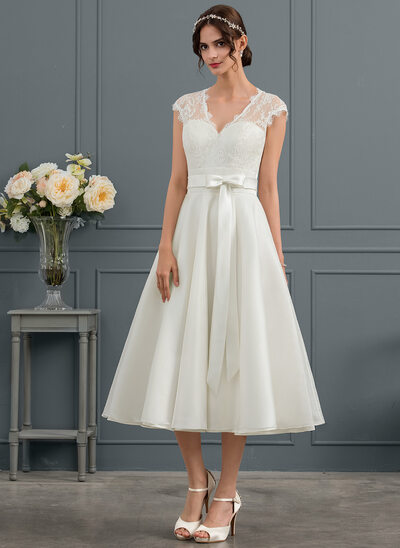 A-Line V-neck Tea-Length Satin Wedding Dress With Bow(s)