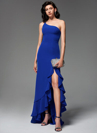Trumpet/Mermaid One-Shoulder Sweep Train Stretch Crepe Evening Dress With Split Front