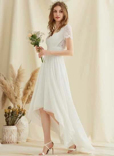 A-Line V-neck Asymmetrical Chiffon Lace Wedding Dress