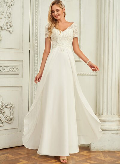 A-Line V-neck Floor-Length Chiffon Lace Wedding Dress With Lace