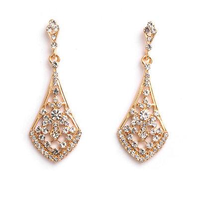 Ladies' Elegant Alloy Rhinestone Earrings For Bride