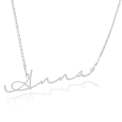 [Free Shipping]Custom Sterling Silver Signature Cursive Name Necklace - Birthday Gifts Mother's Day Gifts (288211272)