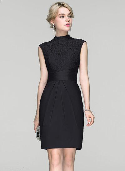 Sheath/Column High Neck Knee-Length Charmeuse Cocktail Dress With Ruffle