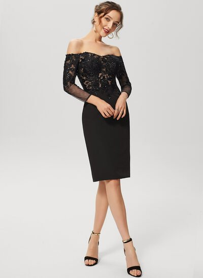 Sheath/Column Off-the-Shoulder Knee-Length Lace Stretch Crepe Cocktail Dress With Sequins