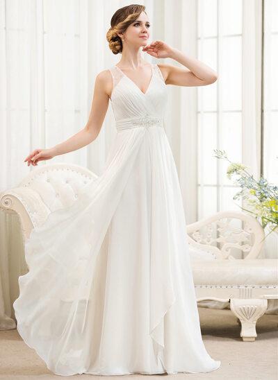 A-Line/Princess V-neck Sweep Train Chiffon Wedding Dress With Beading Sequins Cascading Ruffles