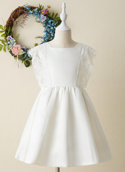 A-Line Knee-length Flower Girl Dress - Satin/Lace Sleeveless Square Neckline
