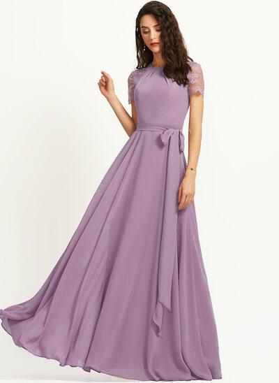 A-Line Scoop Neck Floor-Length Bridesmaid Dress