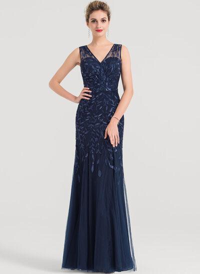 Sheath/Column V-neck Floor-Length Tulle Evening Dress With Sequins
