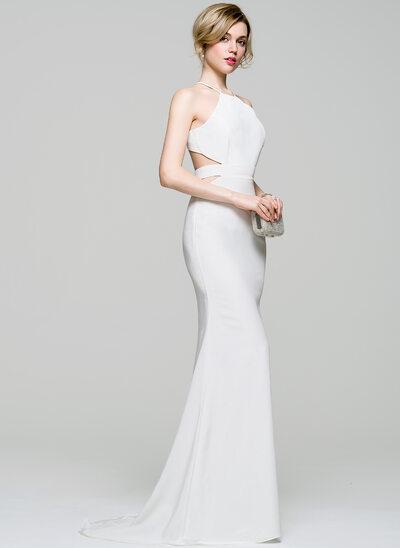 Trumpet/Mermaid Scoop Neck Sweep Train Stretch Crepe Wedding Dress