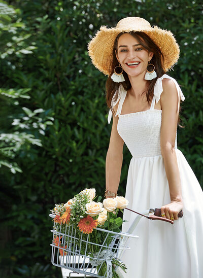 A-Line Square Neckline Knee-Length Wedding Dress
