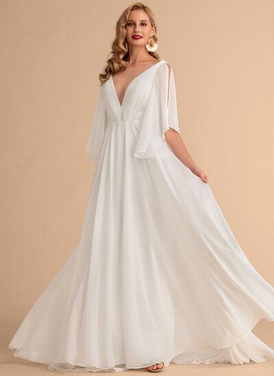 A-Line V-neck Sweep Train Chiffon Wedding Dress