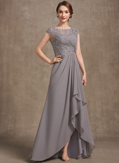 A-Line Scoop Neck Asymmetrical Chiffon Lace Evening Dress With Sequins Cascading Ruffles