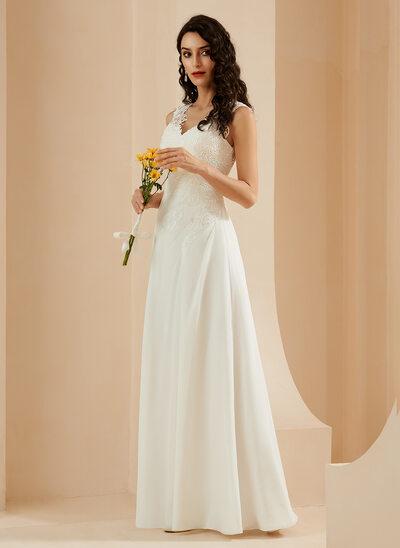 Sheath/Column V-neck Floor-Length Wedding Dress With Lace