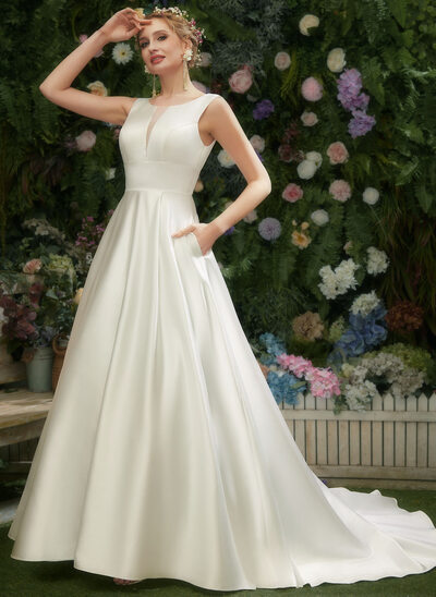 A-Line Scoop Neck Court Train Wedding Dress