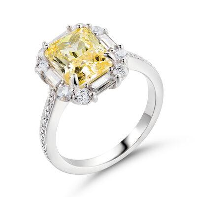 Halo Citrin gul 925 sølv Forlovelsesringer