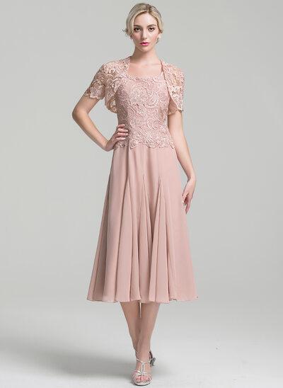 A-Line Square Neckline Tea-Length Chiffon Mother of the Bride Dress