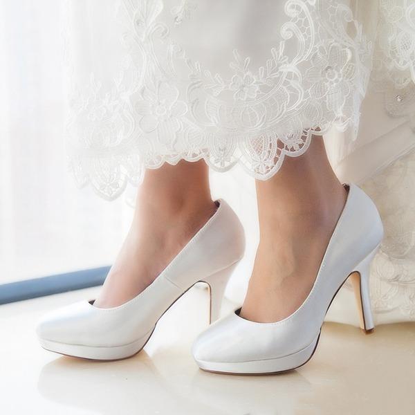Women's Satin Stiletto Heel Closed Toe Pumps Dyeable Shoes