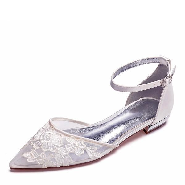 Kvinner Mesh Flat Hæl Lukket Tå Flate sko med Applikert