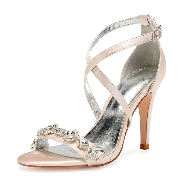 Women's Silk Like Satin Stiletto Heel Peep Toe Pumps Sandals With Rhinestone