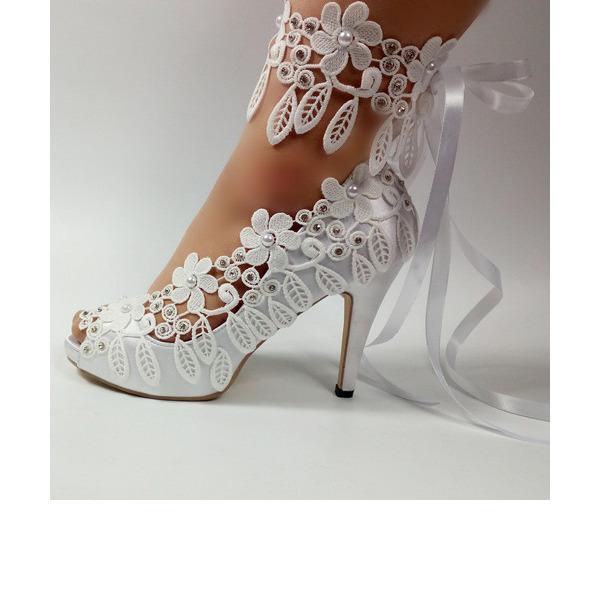 Leatherette Stiletto Heel Peep Toe Pumps With Tassel
