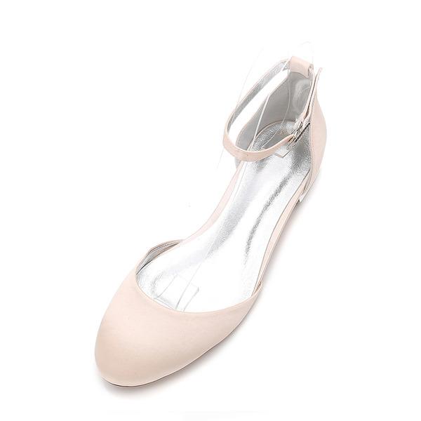 Kvinner silke som sateng Flat Hæl Flate sko Sandaler med Spenne