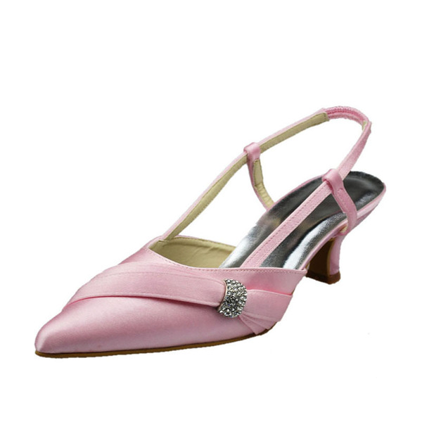 Women's Satin Low Heel Closed Toe Pumps Slingbacks With Rhinestone