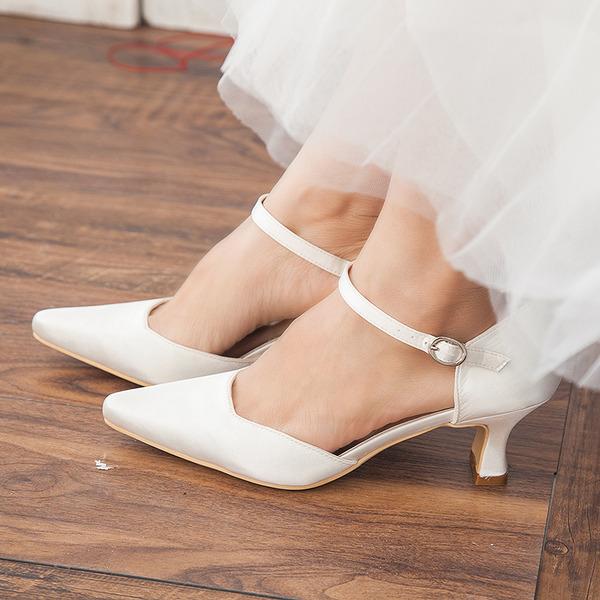 Women's Satin Chunky Heel Closed Toe Pumps