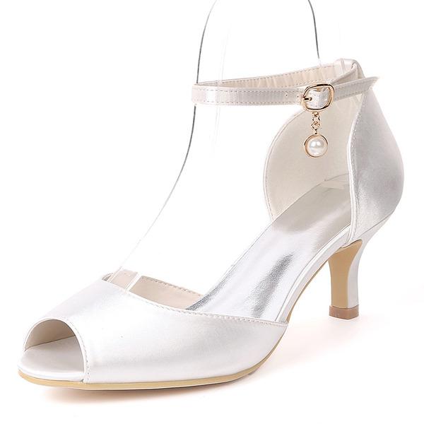 Women's Silk Like Satin Stiletto Heel Pumps With Imitation Pearl