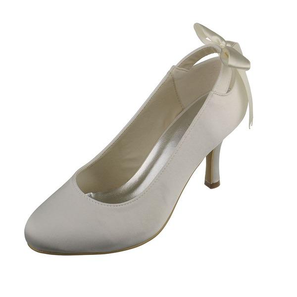 Women's Satin Stiletto Heel Closed Toe Pumps With Ribbon Tie