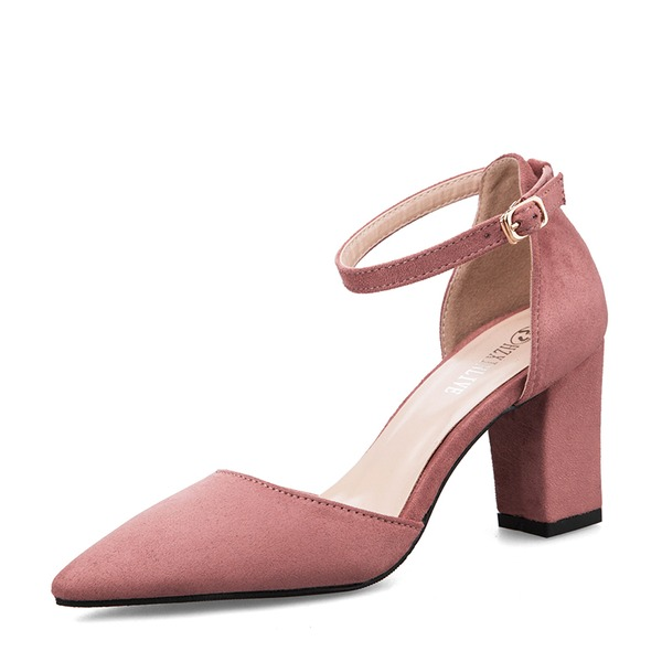 Women's Suede Chunky Heel Closed Toe Pumps Sandals With Buckle