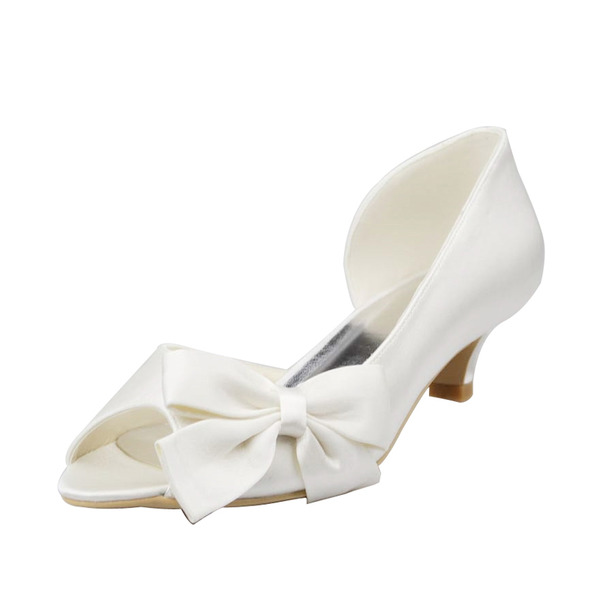 Women's Satin Low Heel Peep Toe Sandals With Bowknot