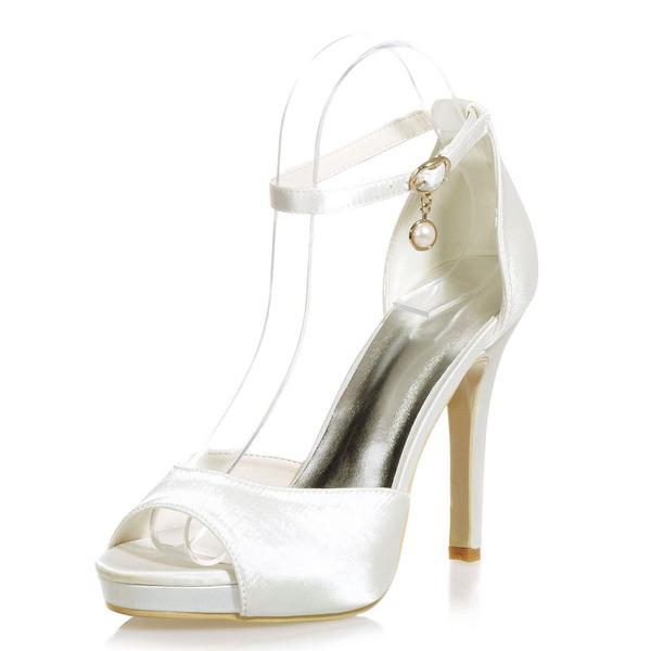 Kvinner Satin Stiletto Hæl Titte Tå Platform Sandaler med Spenne Imitert Perle