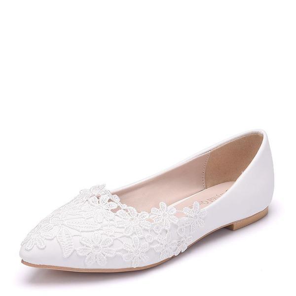 Kvinner Lær Flat Hæl Lukket Tå Flate sko med Applikert