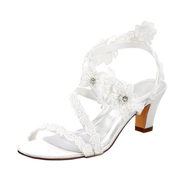 Kvinner Satin Sandaler med Perle