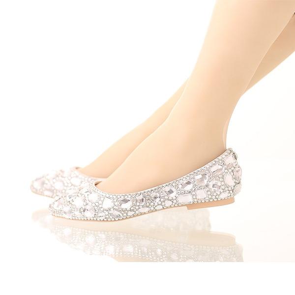 Kvinner Lær Flat Hæl Lukket Tå Flate sko med Rhinestone