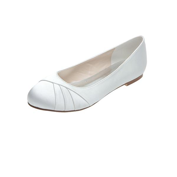 Kvinner Satin Flat Hæl Lukket Tå Flate sko