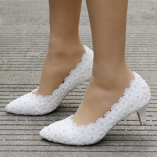 Women's Leatherette Stiletto Heel Closed Toe Pumps With Imitation Pearl Applique