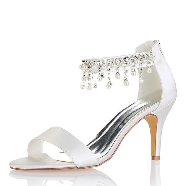 Kvinner silke som sateng Stiletto Hæl Titte Tå Pumps Sandaler med Tassel