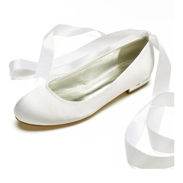 Kvinner silke som sateng Flat Hæl Lukket Tå Flate sko med Blondér