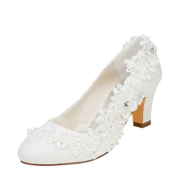 Women's Silk Like Satin Chunky Heel Pumps With Stitching Lace Flower Crystal Pearl