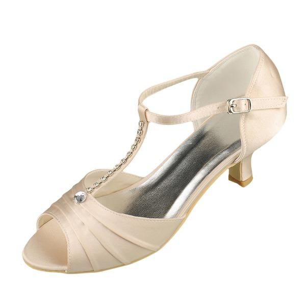 Women's Satin Low Heel Peep Toe Sandals