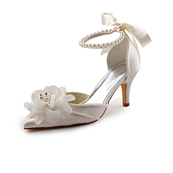 Women's Satin Stiletto Heel Closed Toe Pumps With Imitation Pearl