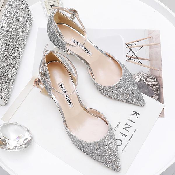 Women's Sparkling Glitter Kitten Heel Closed Toe Pumps With Sparkling Glitter